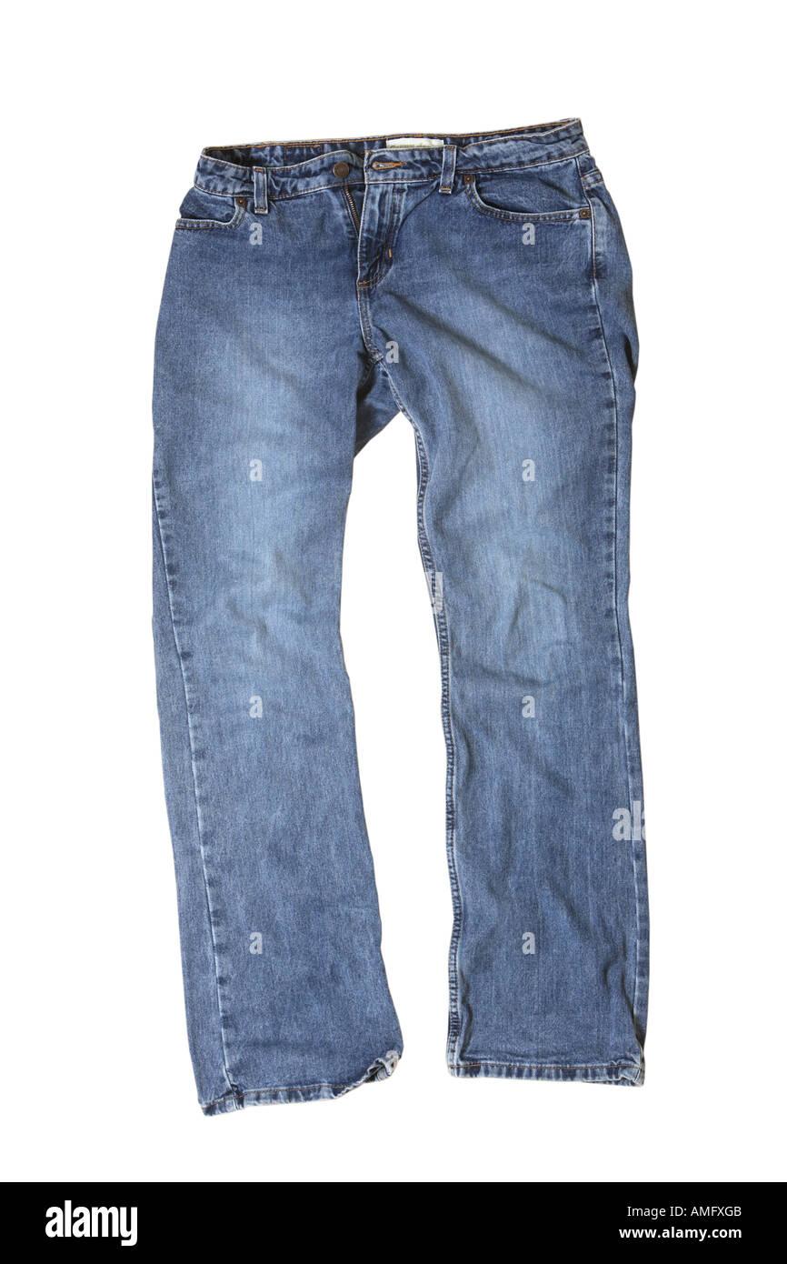 Blaue Jeans vorne Stockfoto