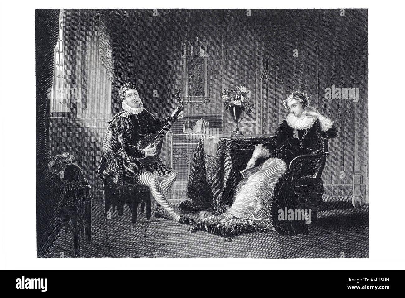 Queen Mary ich 1 1. Scots Schottland Monarch Königreich Schottland umworben Chatelar Ständchen singen Stockbild