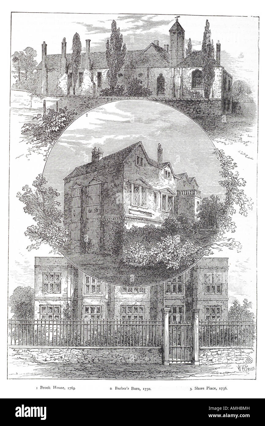 1750 Hackney Bach Haus Friseur Scheune Ufer Legen Größere Hauptstadt London  City England Englisch Großbritannien Stockbild