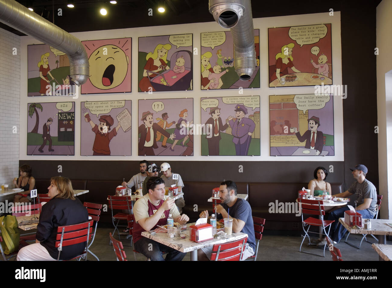 Miami Florida Biscayne Boulevard die tägliche kreative Food Company Restaurant Café Comic-Strip Wandbild Stockbild