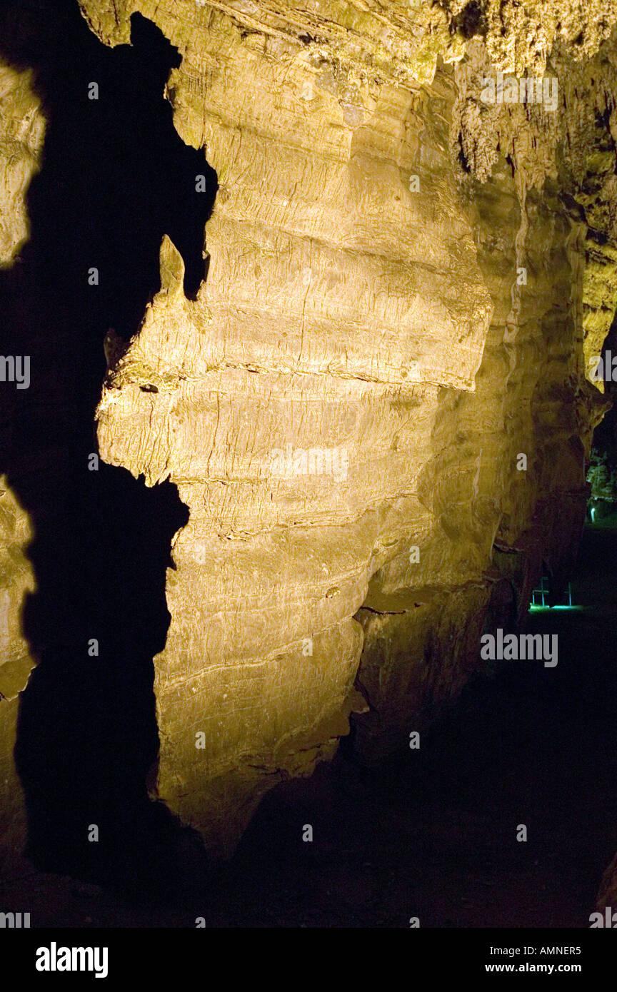 Beleuchteten Höhlen, die afrikanischen Kontinent an die Wiege der Menschheit zum Weltkulturerbe in Gauteng Provinz South ähneln Stockbild
