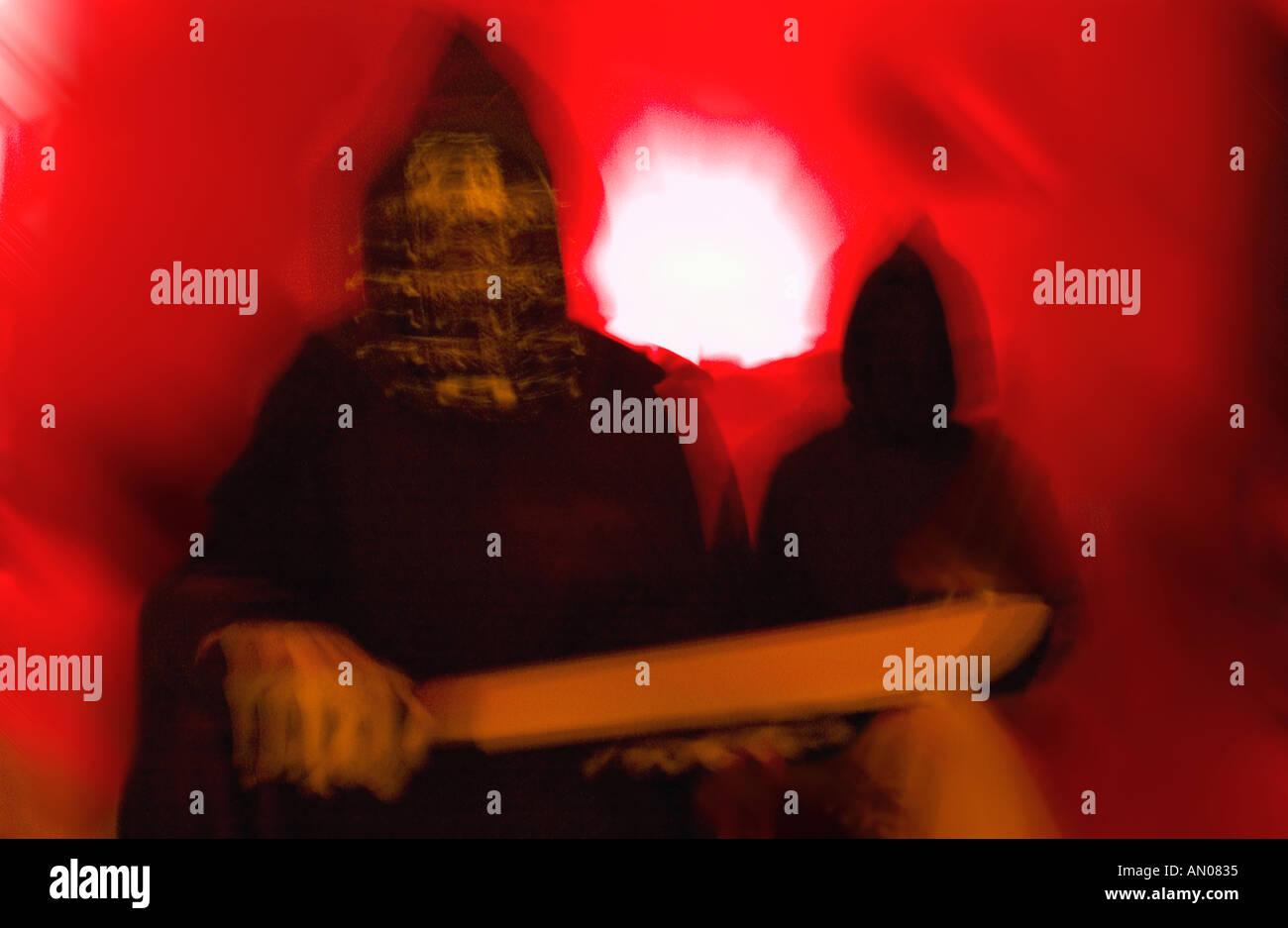 Geisterhafte gruselige Halloween-Kostüm Stockbild