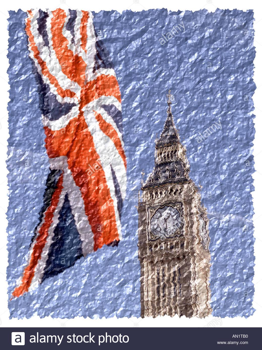 GB - LONDON: Big Ben und Union Jack Stockbild
