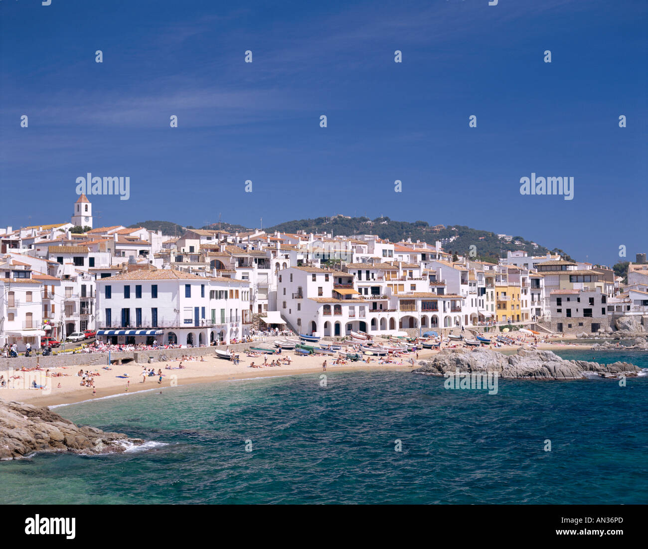 Die Costa Brava, Katalonien, in Calella de Palafrugell, Spanien Stockbild