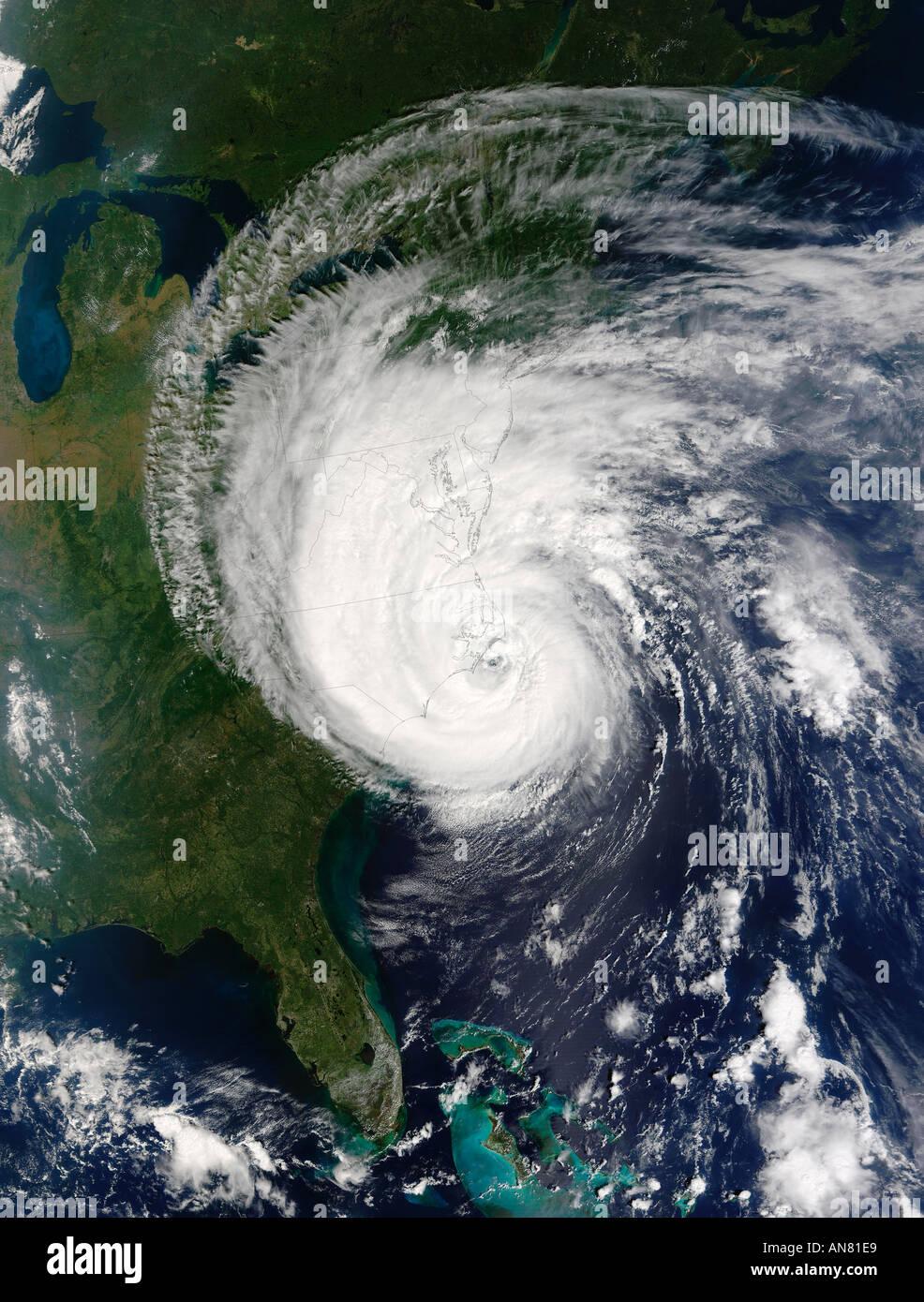 Hurrikan Isabel aus dem Weltraum schlagen den Küstenstaaten der USA gesehen Stockbild