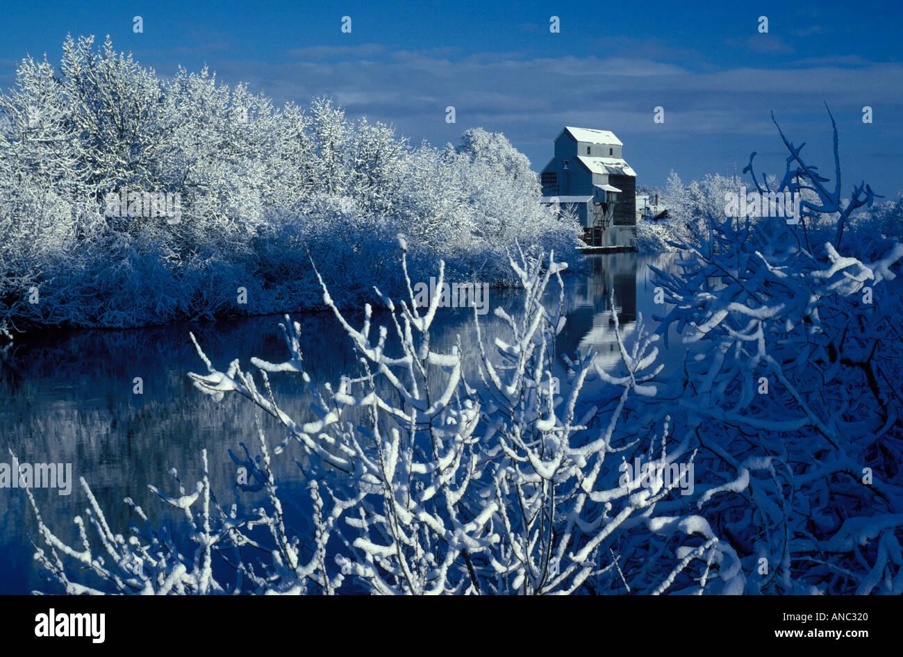 F00040 Tiff Kompf Getreidemühle und Longtom River nach Neuschnee mit Reflexion Oregon Stockbild
