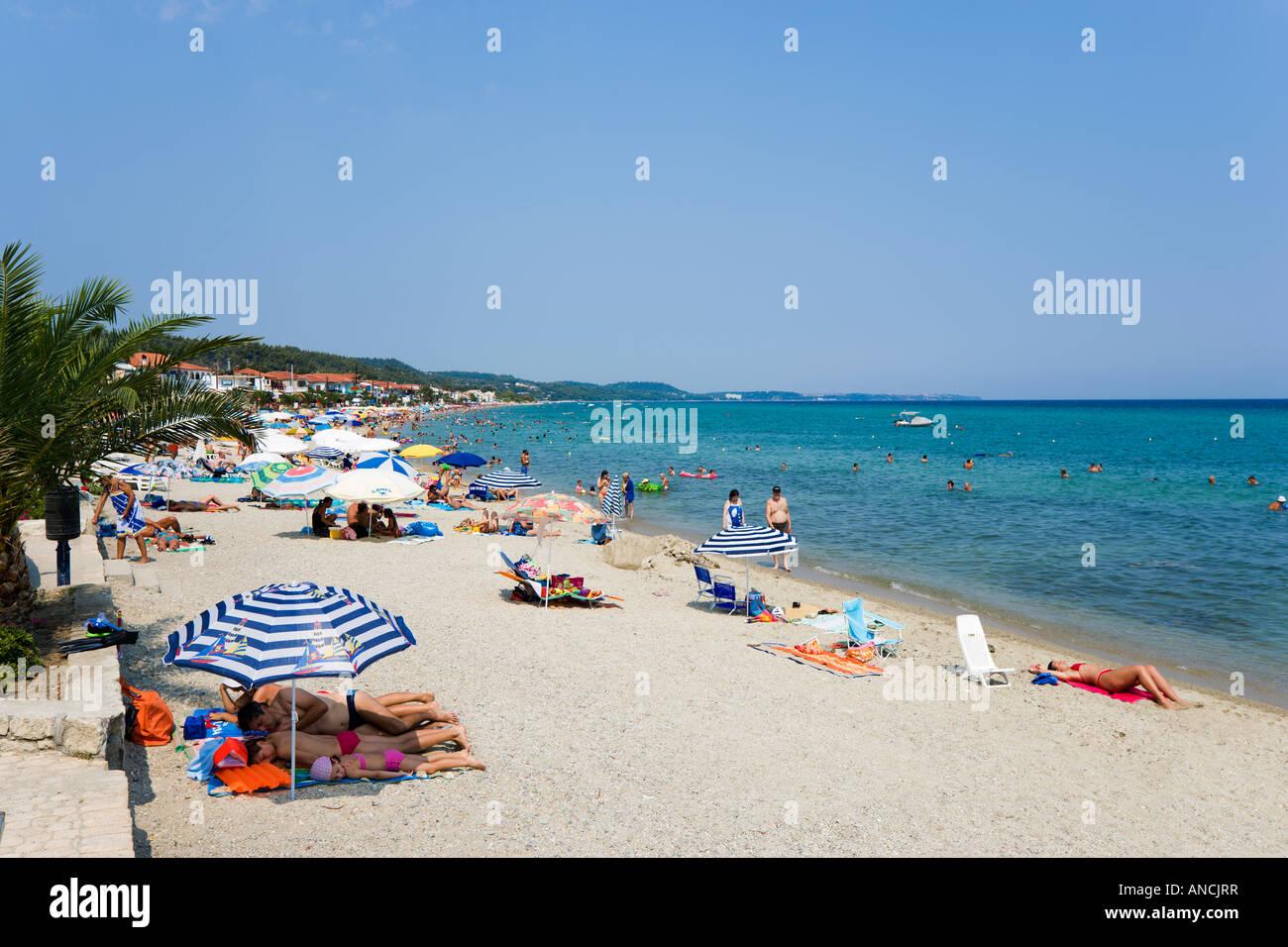 Strand, Polichrono, Kassandra Halbinsel Chalkidiki, Griechenland Stockbild
