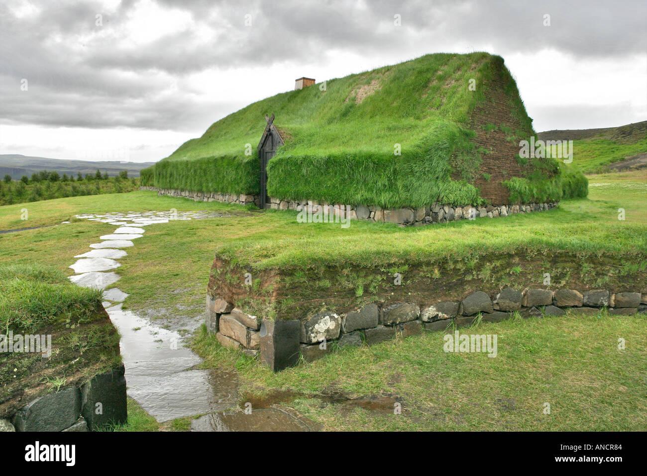 Historische Rekonstruktion einer isländischen Turf Farm Island Stockbild
