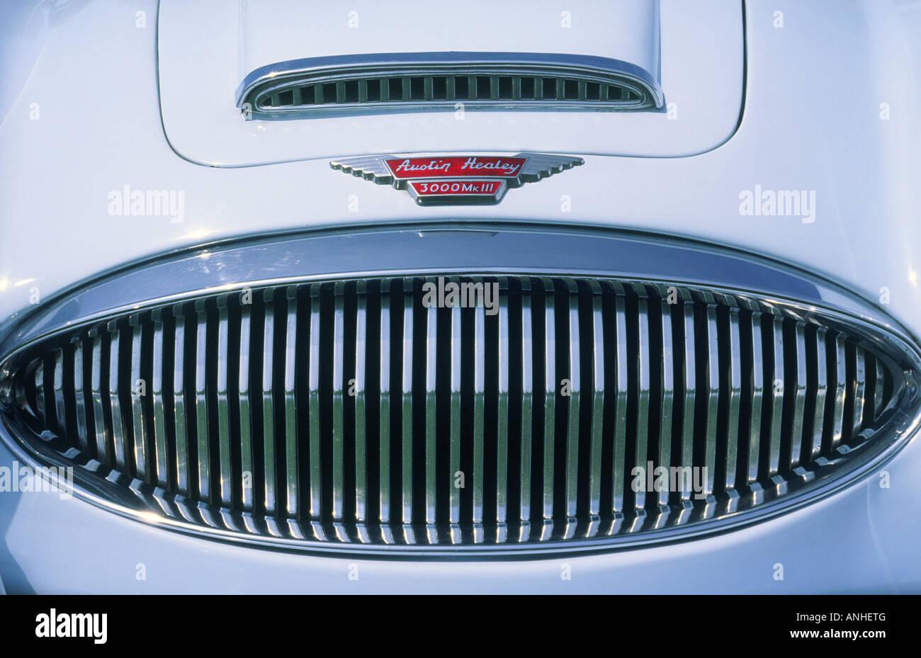 Austin Healey 3000 Motorhaube und Chrom Grill Stockbild