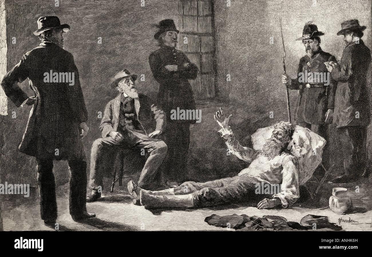 John Brown nach seiner Gefangennahme. John Brown, 1800 - 1859. Weißamerikanischer Abolitionist. Stockfoto