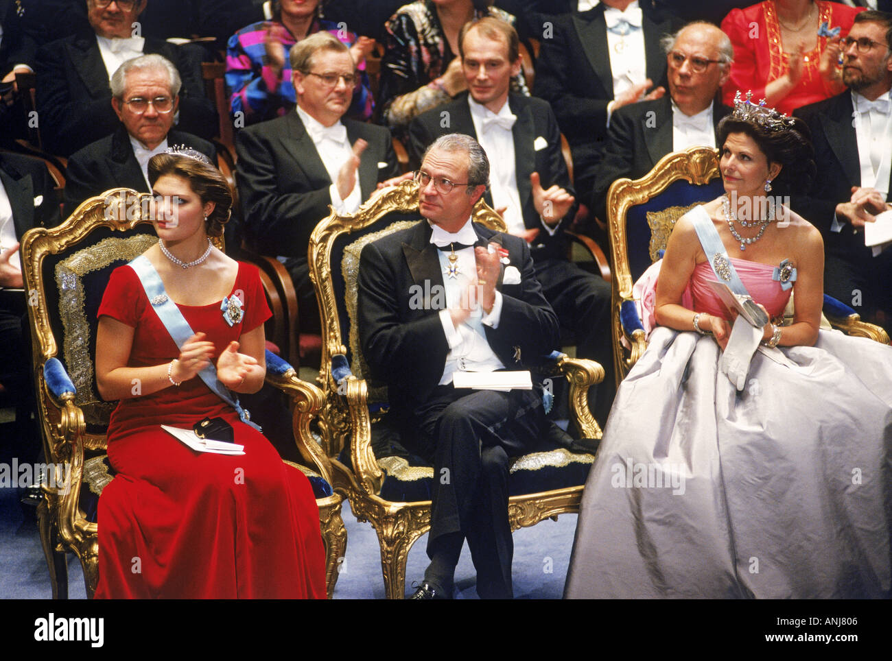 Nobel Awards mit Königsfamilie und Nobel Preisträgern im Stockholmer Konzerthaus Stockbild