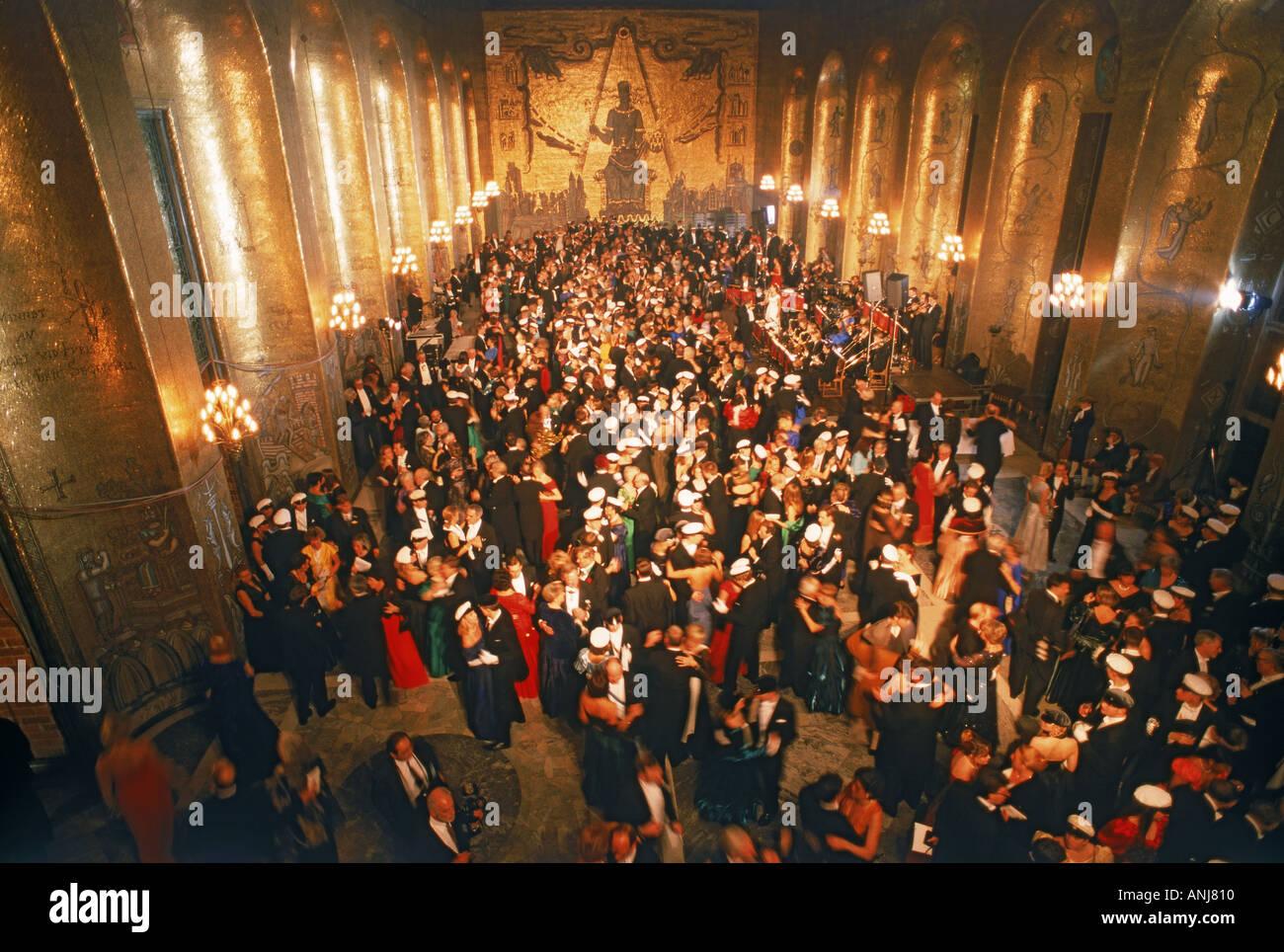 Tanzen in goldene Saal im Rathaus der Stadt Stockholm während Nobel Awards Stockbild
