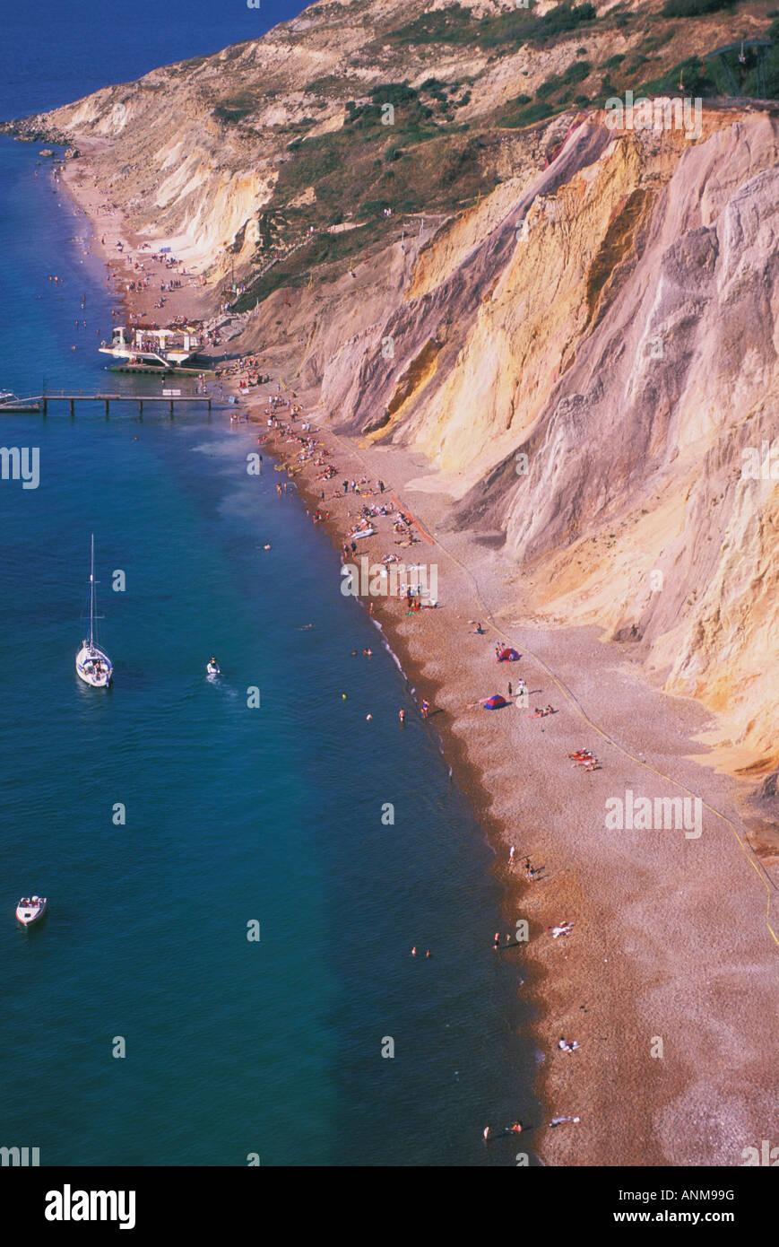 Multi farbige Klippen von Alum Bay auf der Isle Of Wight-England Stockfoto