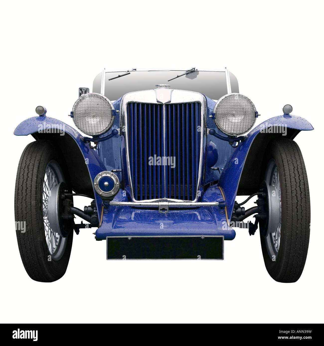 Ein Vintage blau-Sportwagen isoliert auf weiss Stockbild
