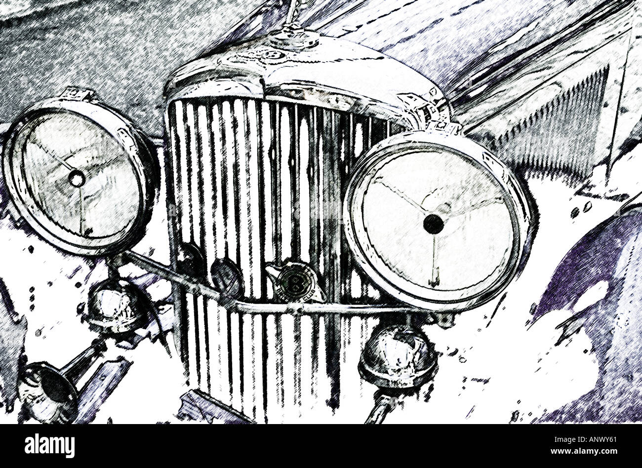 alten altmodische Auto Foto Abbildung Skizze zeichnen große runde ...