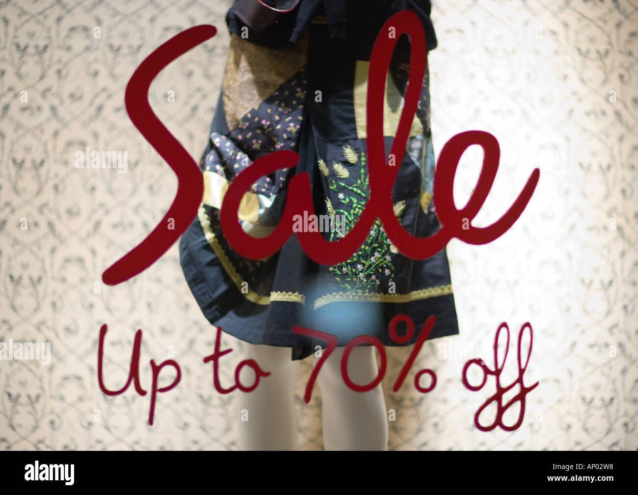 Verkauf anmelden Schaufenster Stockbild
