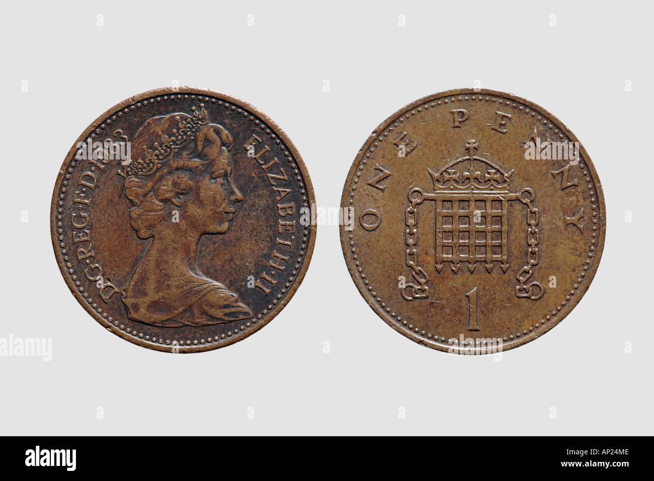 Vorder Und Rückseite Einen Cent Münze Britische Währung Gbp Pfund