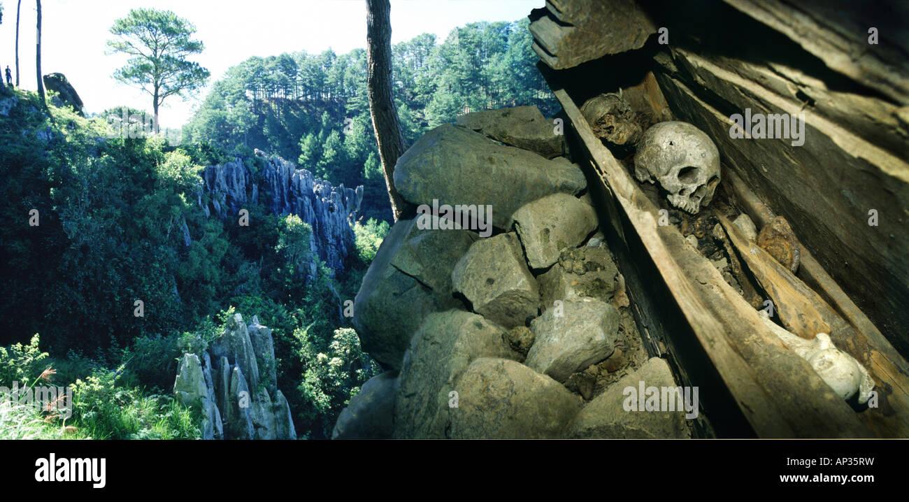 Alten Sarg versteckt in Felswand, Sagada, Insel Luzon, Philippinen Stockbild