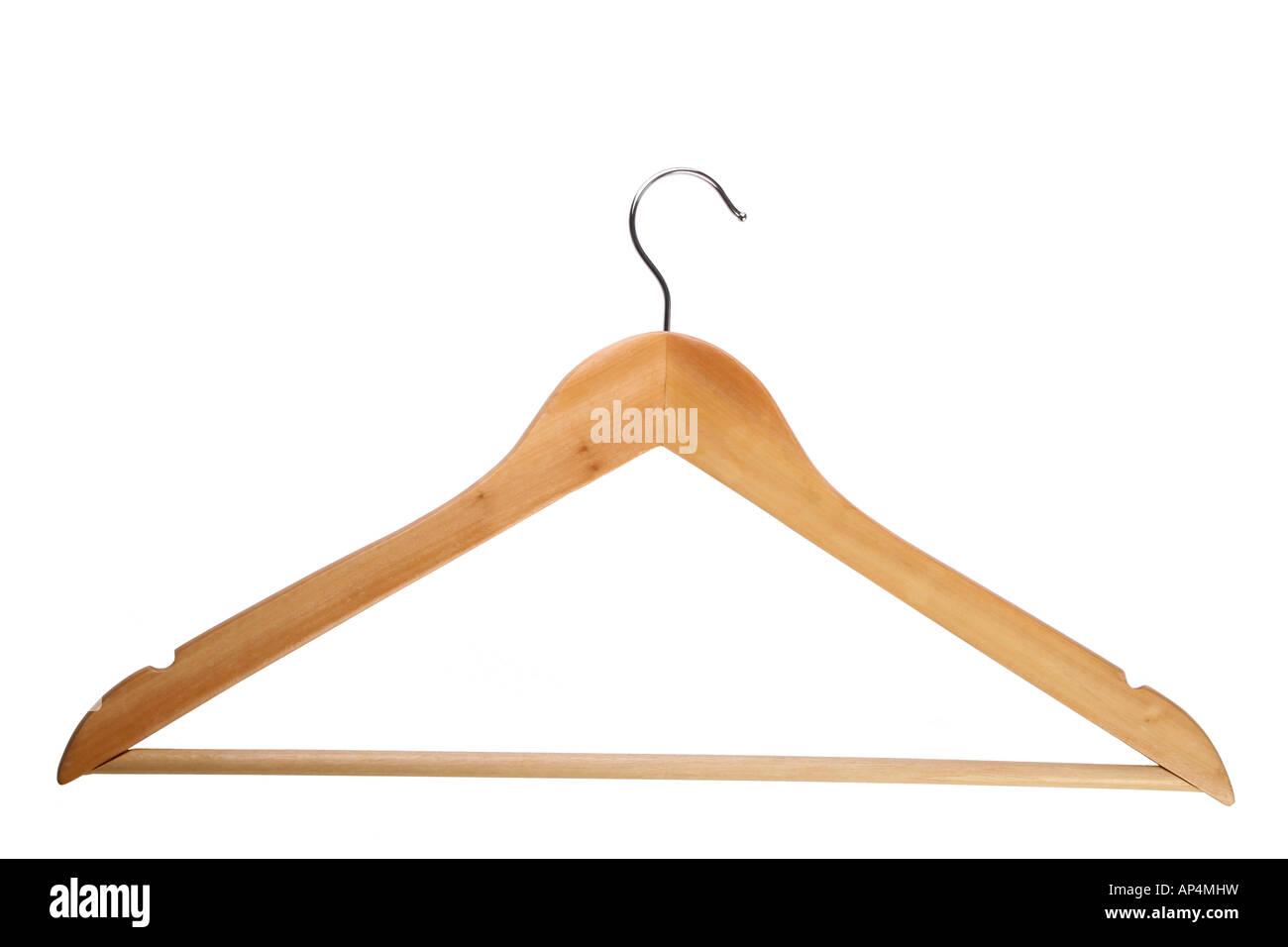 Hölzerne Kleiderbügel isoliert auf weiss Stockbild