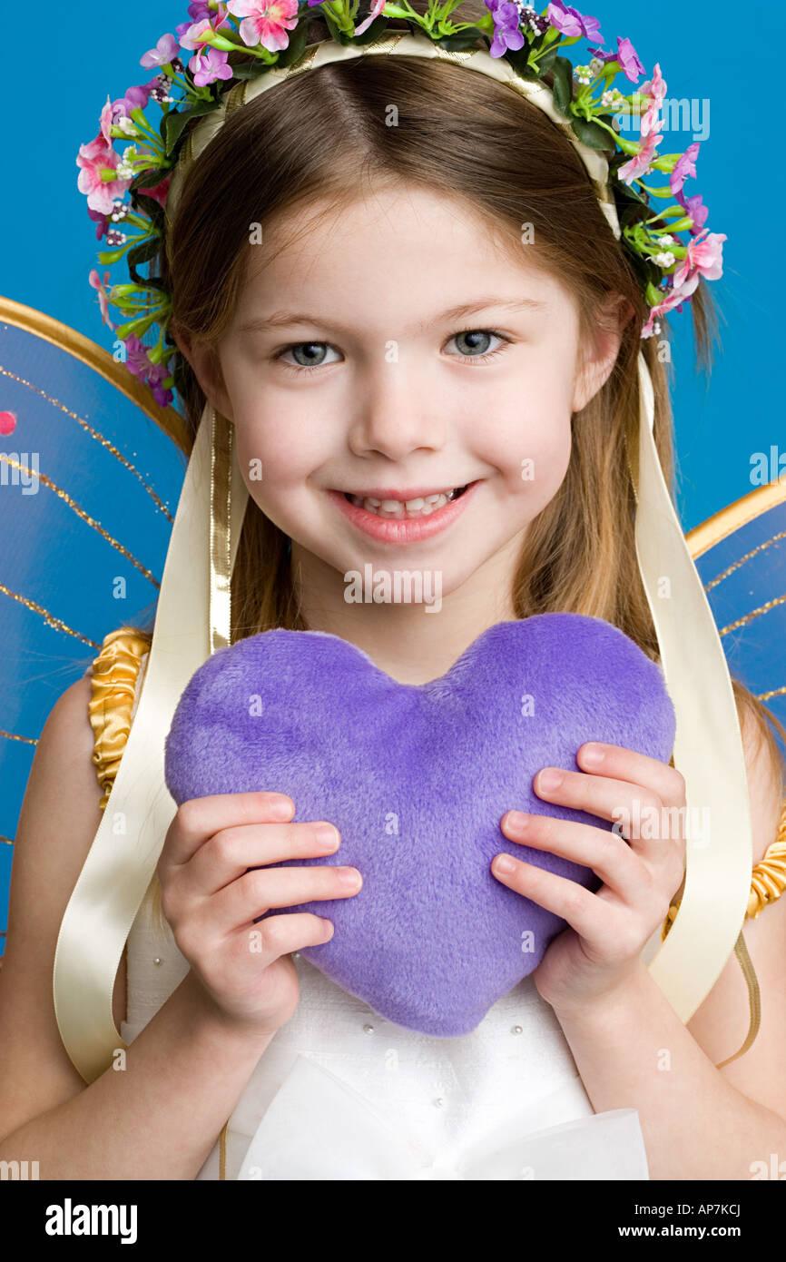 Mädchen, verkleidet als Märchenprinzessin Stockbild