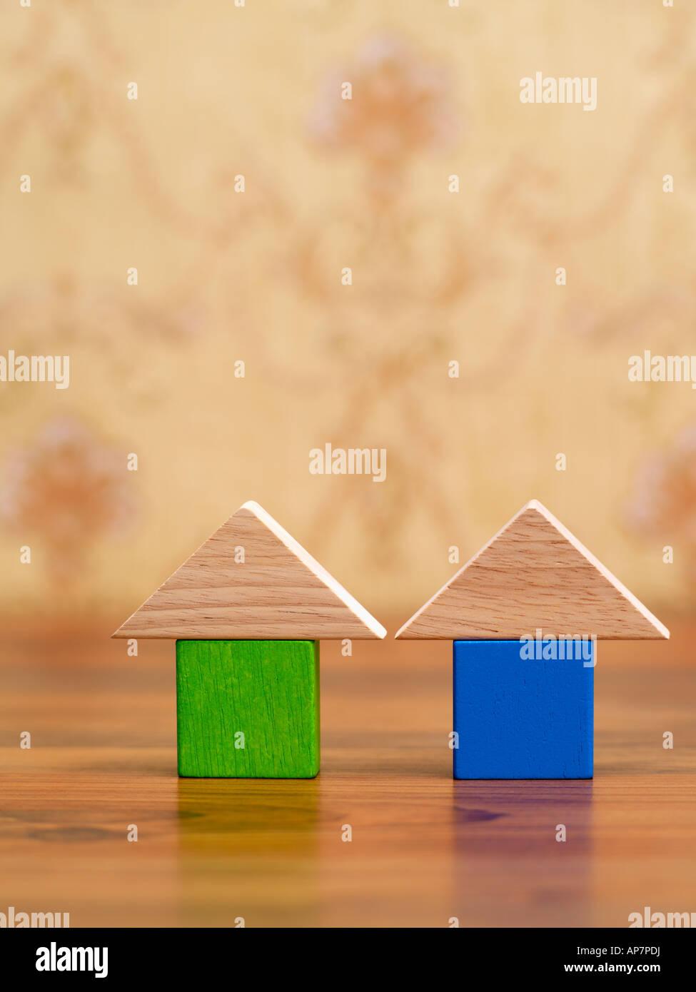 Baustein-Häuser Stockbild