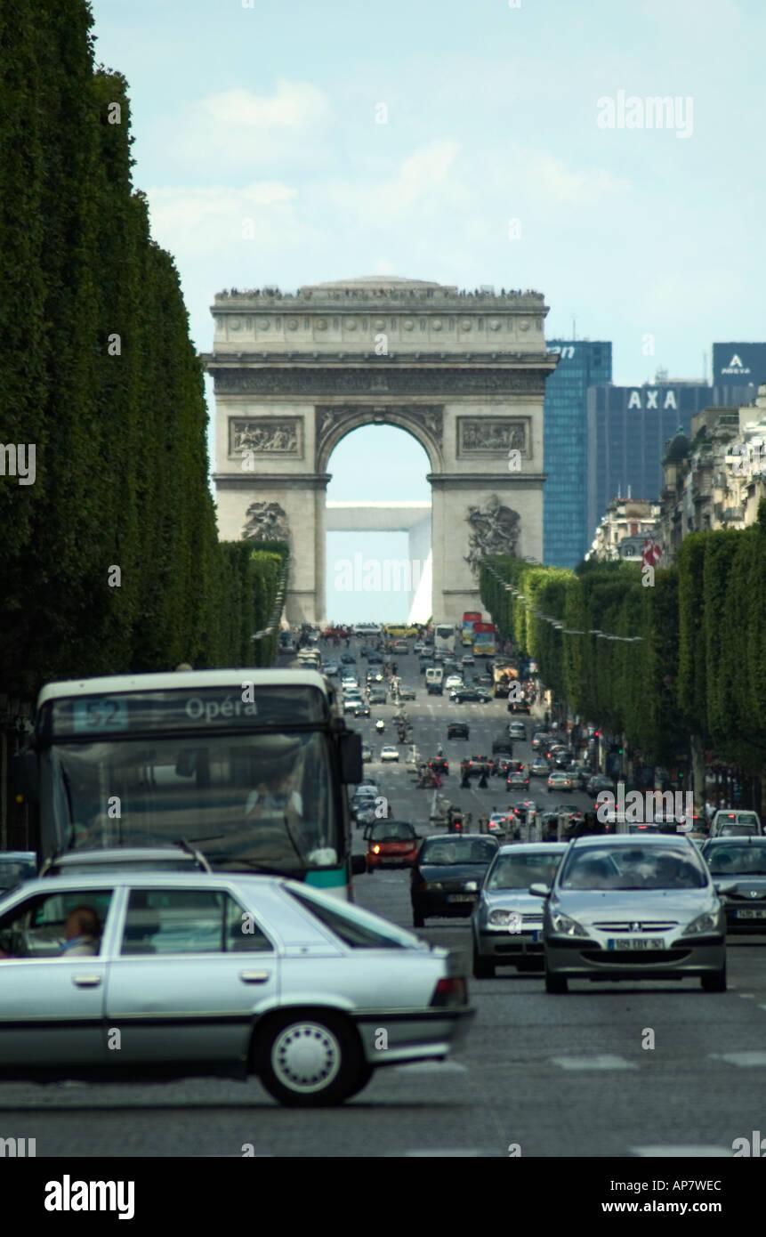 Totale der Champs Elysee Paris France Stockbild