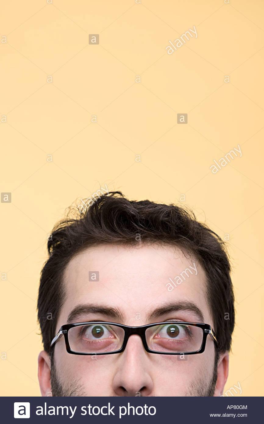 Die Hälfte eines mans Gesicht Stockbild