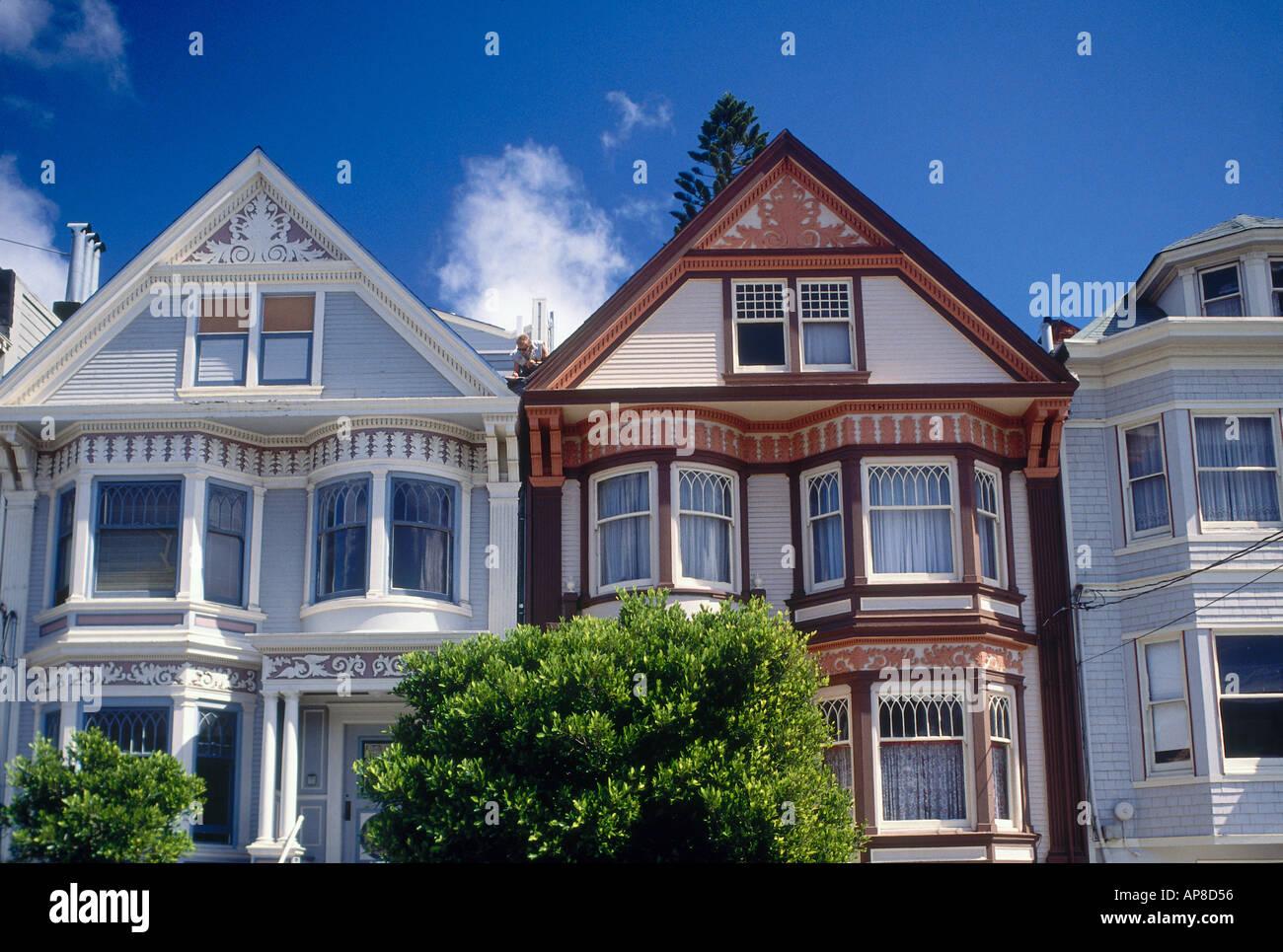 Fassaden Der Hauser Im Viktorianischen Stil San Francisco