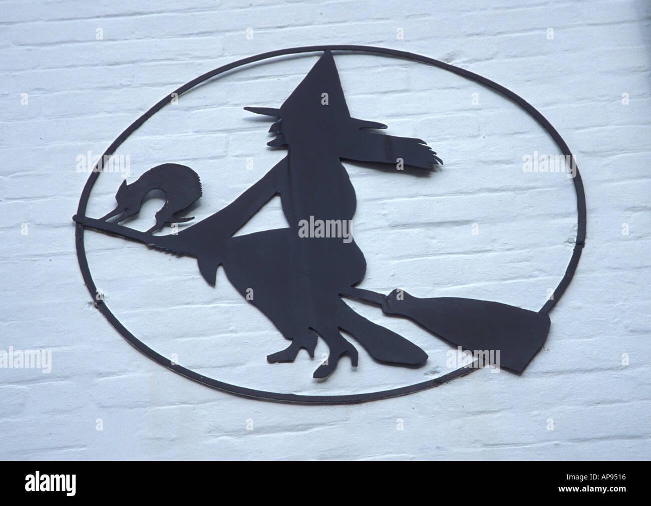 Hexe-Bild auf der Seite ein Geschäft in der New Forest-Hampshire UK Stockbild
