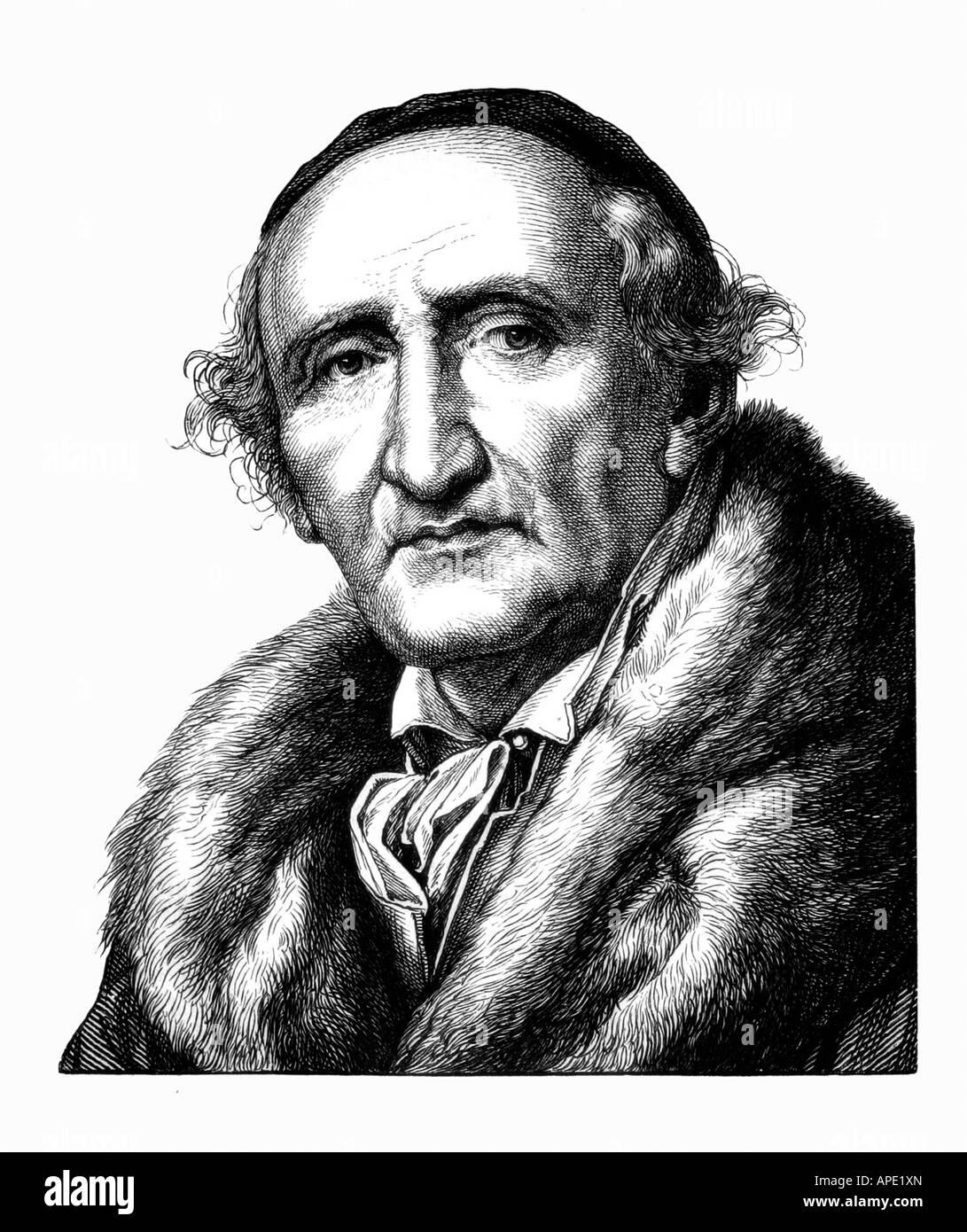 Schadow, Johann Gottfried, 20.5.1764 - 27.1.1850, deutscher Bildhauer, Porträt, Stahlstich, Jahrhundert, Artist's Urheberrecht nicht gelöscht werden Stockfoto
