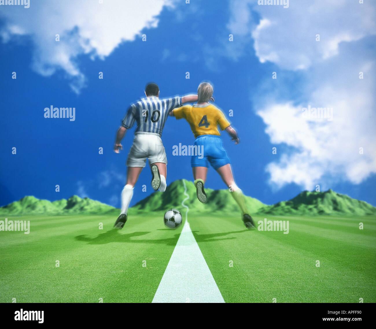 Sport Illustrationen Computergrafik CG-Team Sport-Ballsport-Fußball-Fußball Stockbild