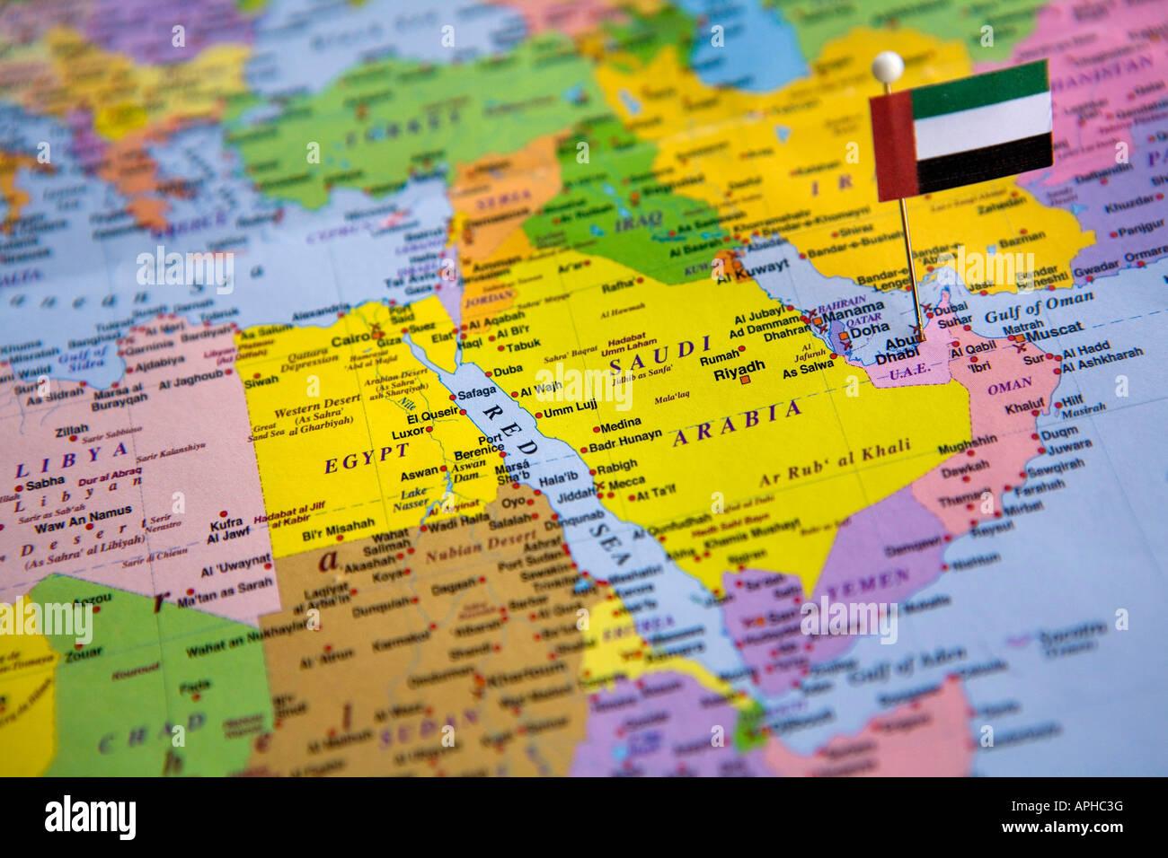 Doha Karte Welt.Vereinigte Arabische Emirate Karte Stockfotos Vereinigte