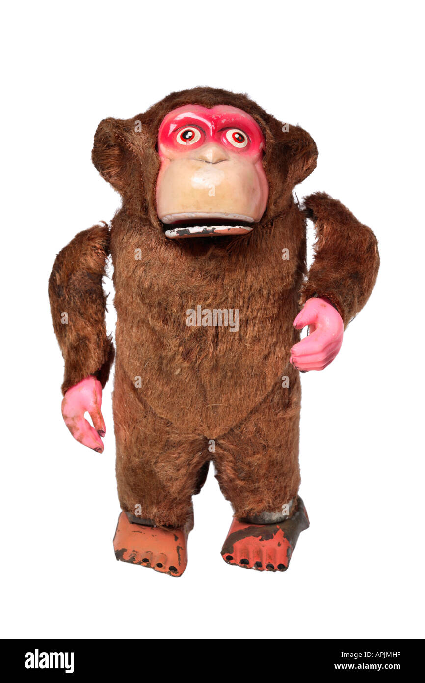 Jahrgang gehen Affe Spielzeug Stockbild