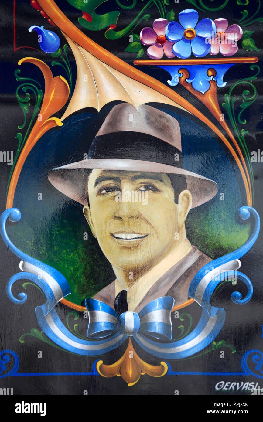 """""""Carlos Gardel"""" Detailansicht am Schriftzug """"Filete Porteño"""" Stil, Abasto Nachbarschaft, Buenos Aires, Argentinien. Stockfoto"""