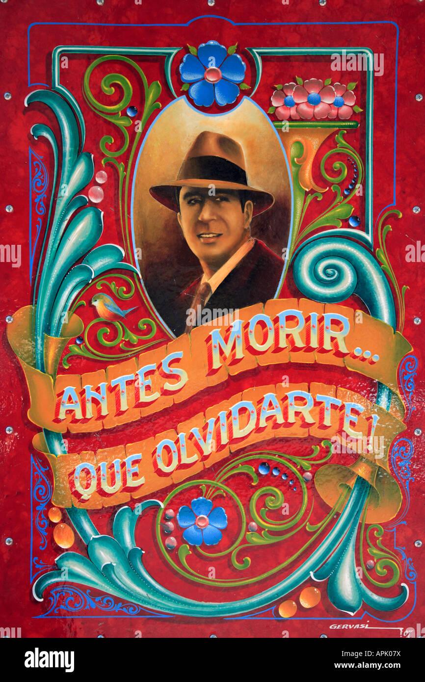 """""""Carlos Gardel"""" Detailansicht am Schriftzug """"Filete Porteño"""" Stil, Abasto Nachbarschaft, Stockbild"""