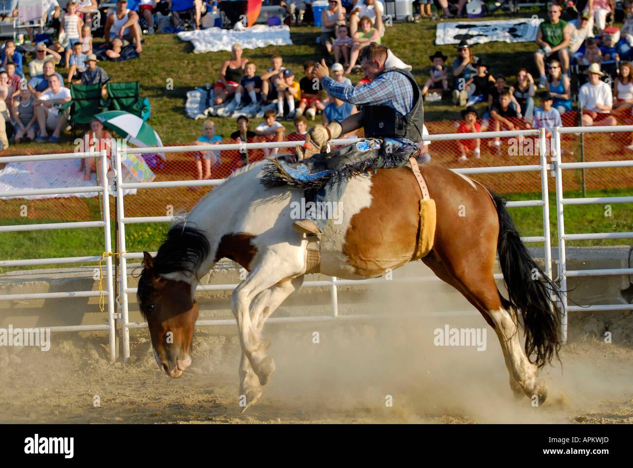 Cowboys teilnehmen im Rodeo Horse Riding-event Stockbild