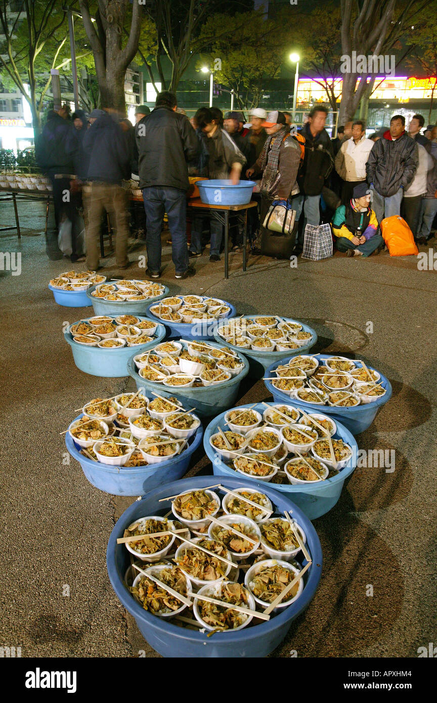 Obdachlose, Park Shinjuku, Tokyo, Japan, Suppe Freitag Nacht Küche ...
