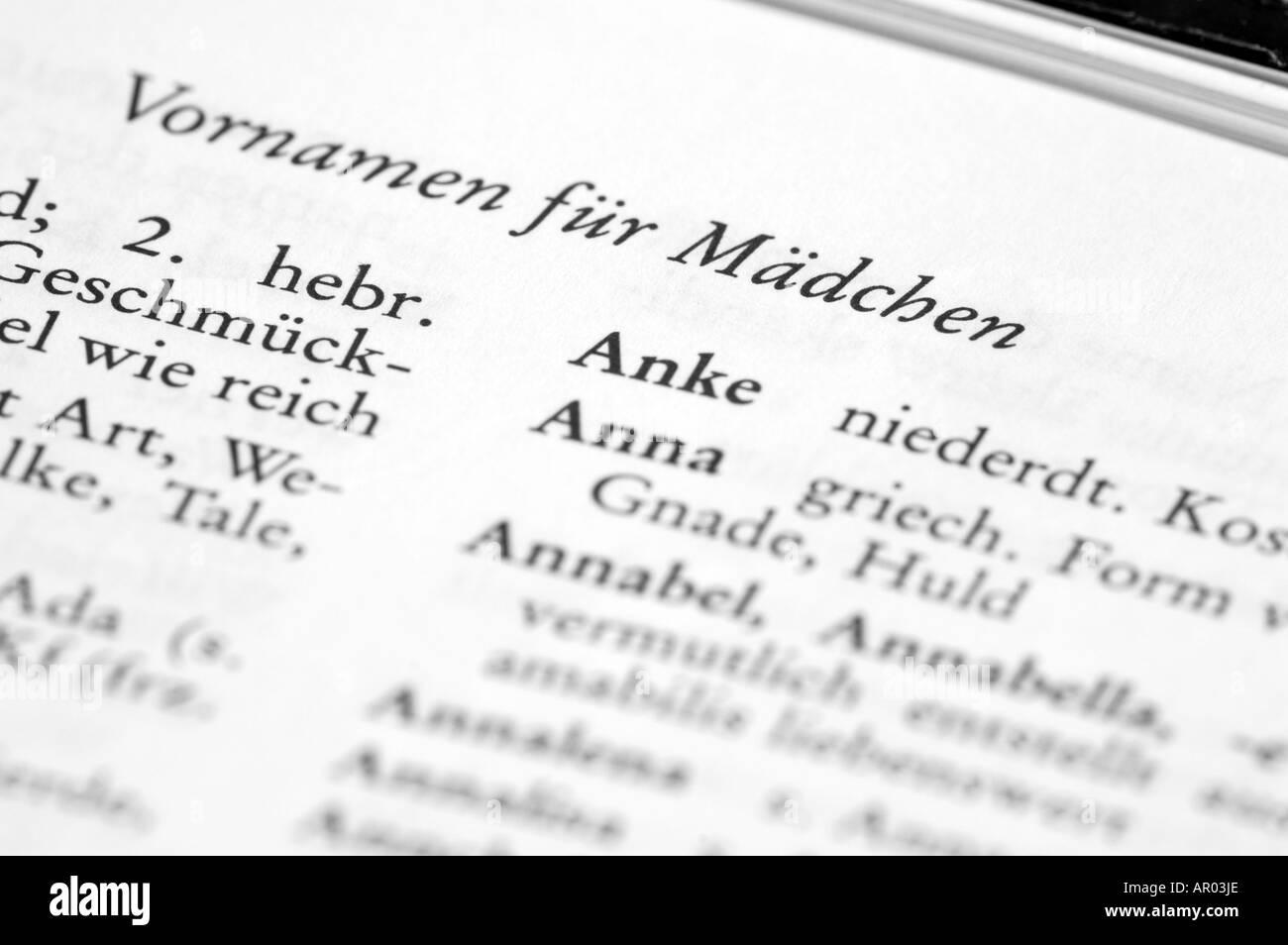 Deutsche Vornamen Stockfoto Bild 9082477 Alamy