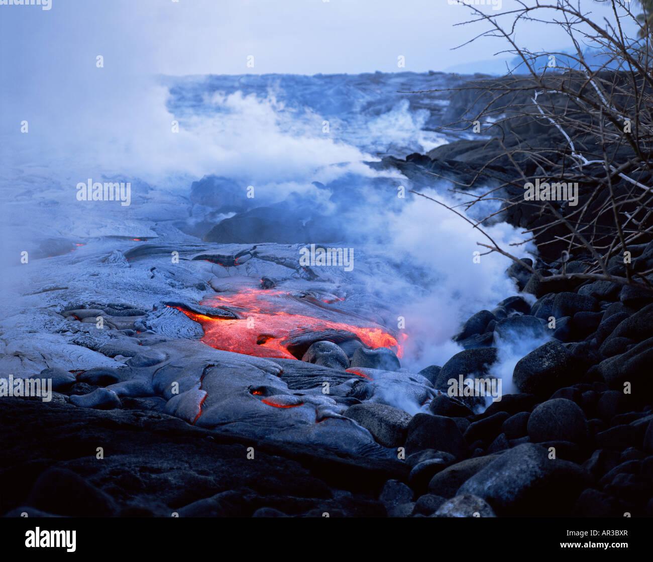 Lavastrom des Kilauea-Vulkan Stockbild