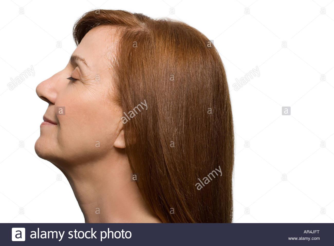 Profil von einer reifen Frau Stockbild
