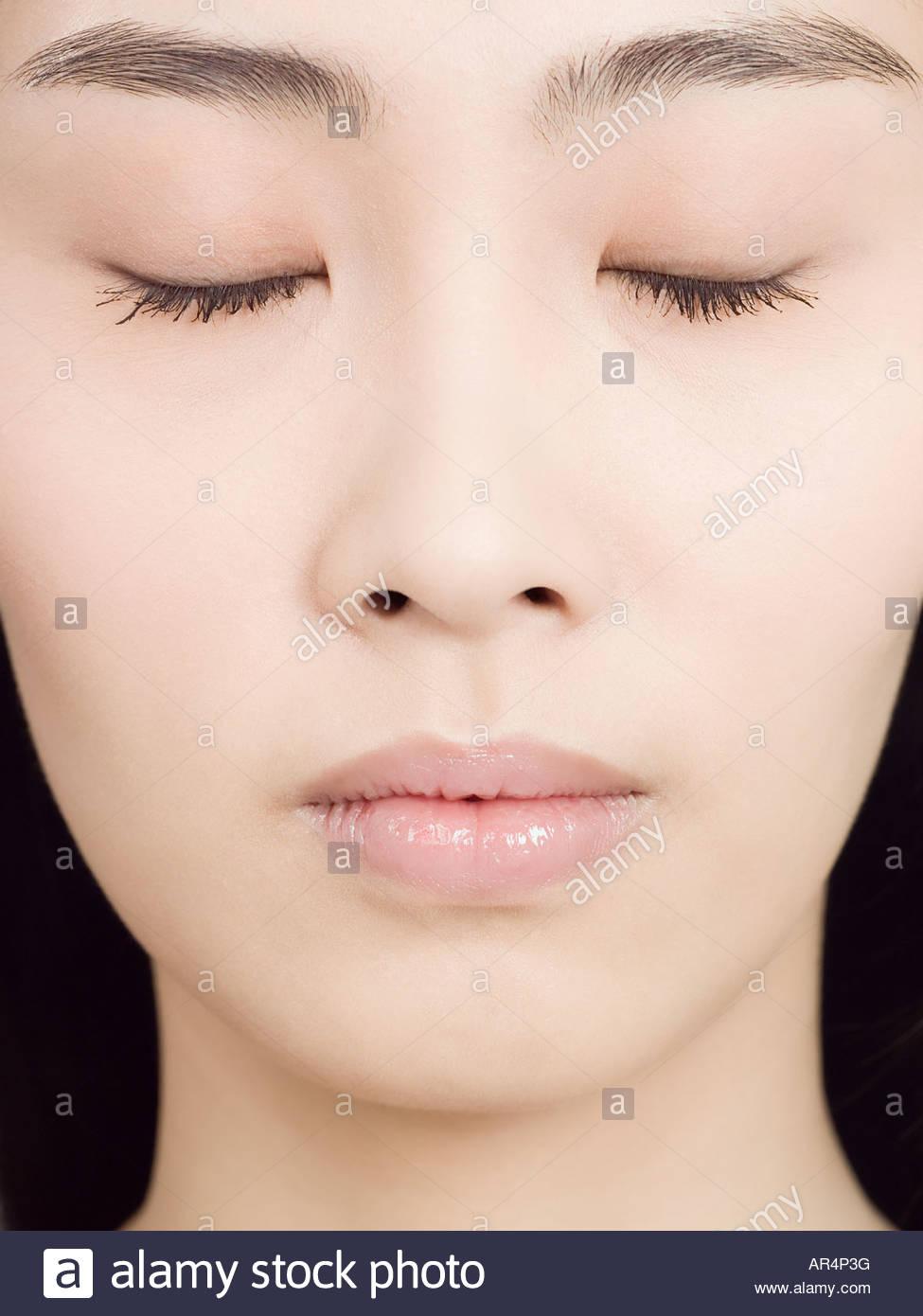 Nahaufnahme von einem chinesischen Womans Gesicht Stockbild