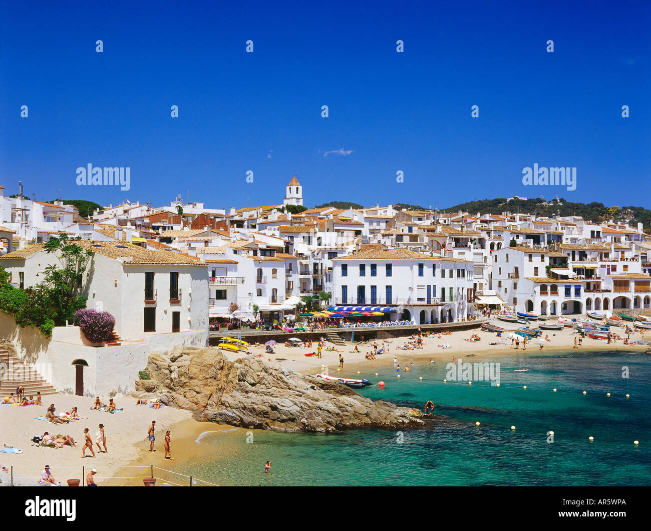 Strand, Calella de Palafrugella, Costa Brava, Provinz Girona, Katalonien, Spanien Stockbild