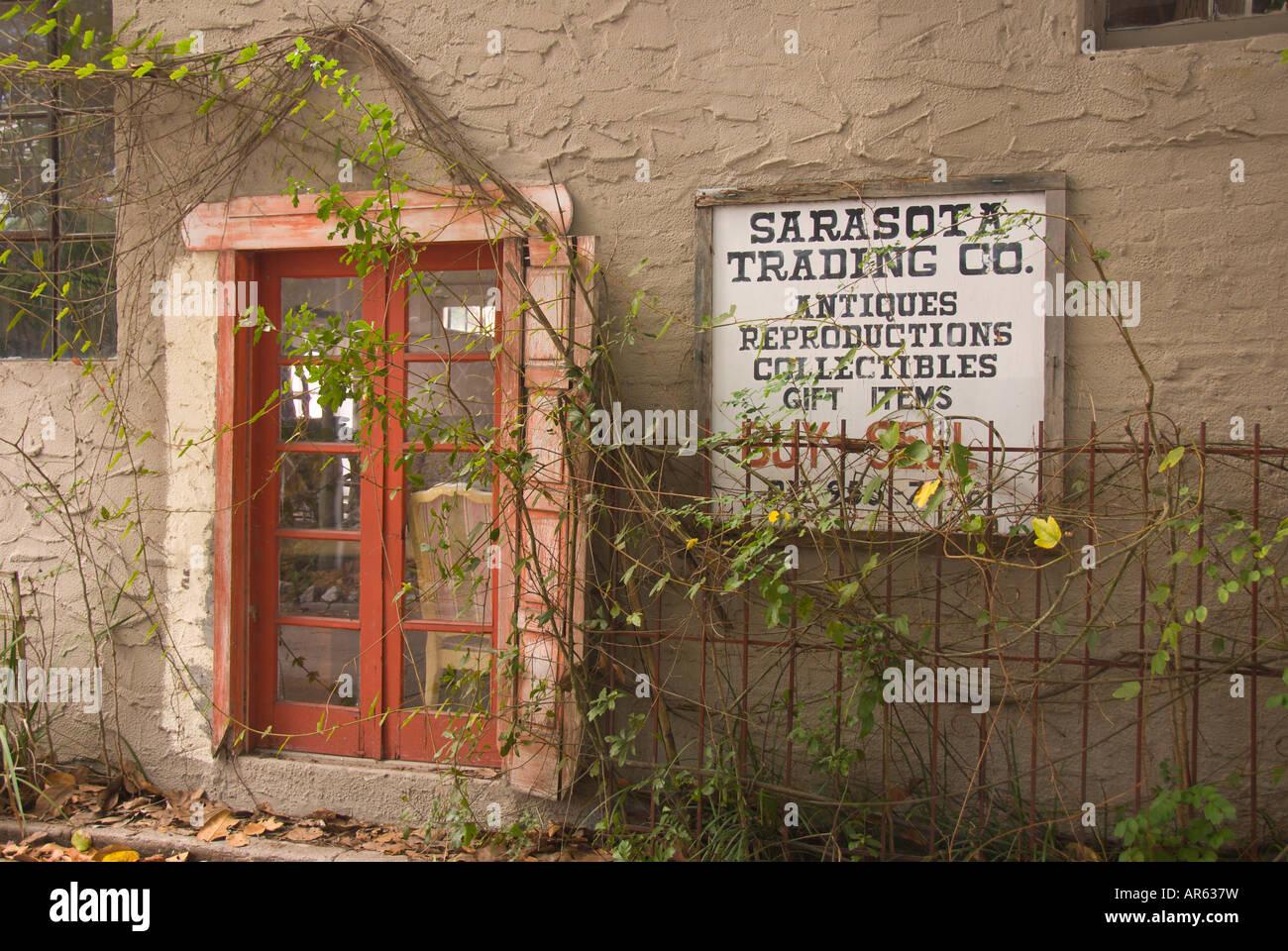 Antik Laden Geschäft Downtown Sarasota Florida Stockfoto Bild