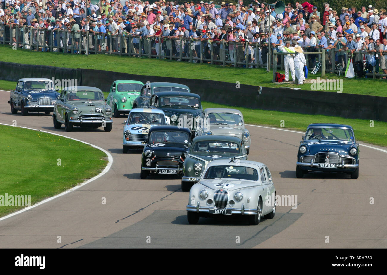 St Marys Trophy Rennen in Goodwood Revival, Sussex, UK. Stockbild