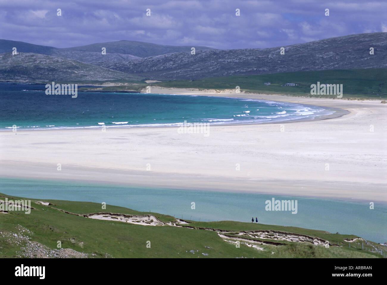 Weißer Muschelsand, Scarasta Strand, Nord-Westküste von South Harris, äußeren Hebriden, Schottland, Stockbild