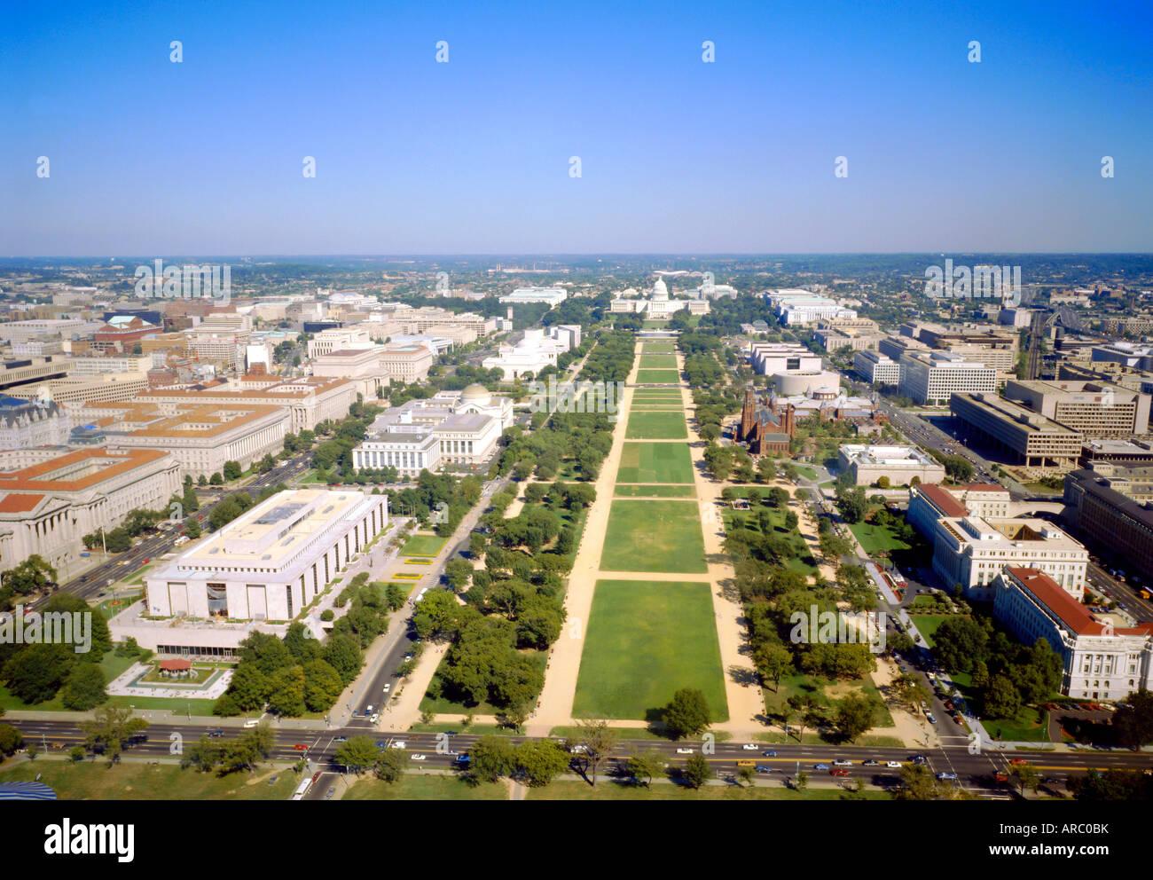 Washington Mall und Kapitol aus dem Washington Monument, Washington DC, USA Stockbild