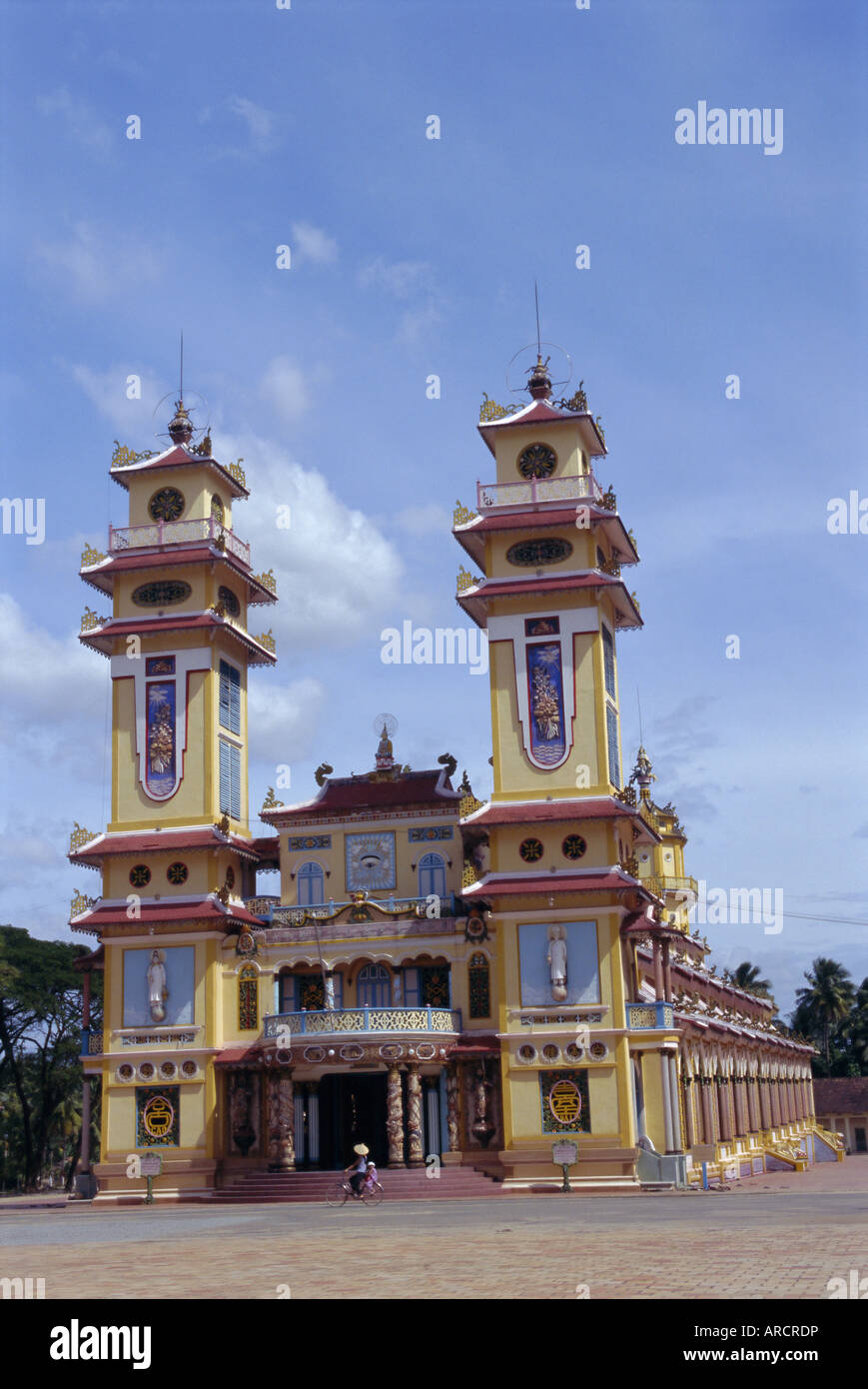 Cao Dai Tempel, Synthese der drei Religionen, Konfuzianismus, Taoismus, Vietnam, Indochina, Südost-Asien Stockbild