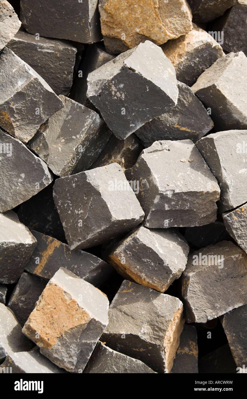 Pflastersteinen verwendet, um alle Straßen, Mindelo, Sao Vicente, Kap-Verde Inseln, Afrika bauen Stockbild