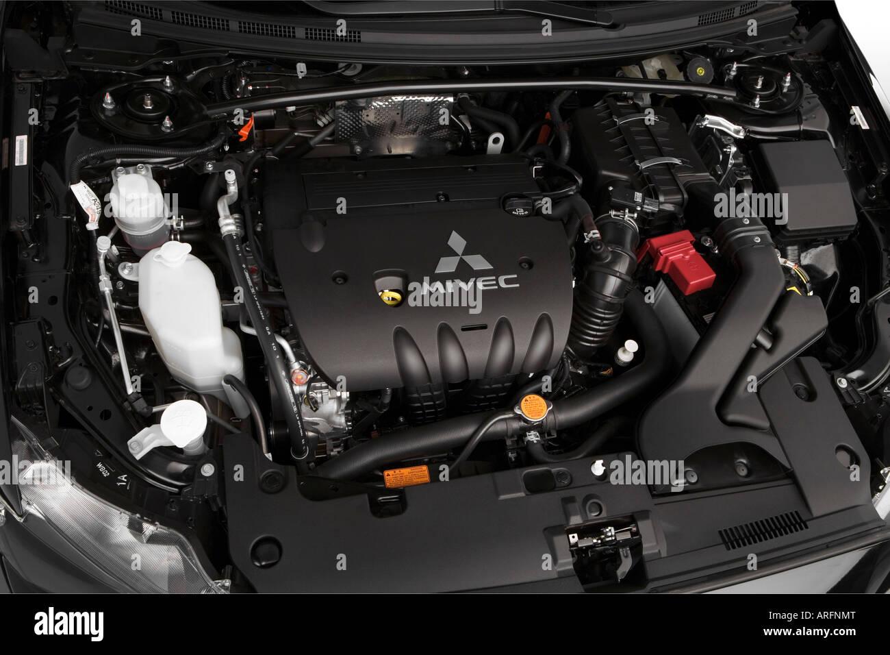 2008 mitsubishi lancer gts in schwarz - motor stockfoto, bild