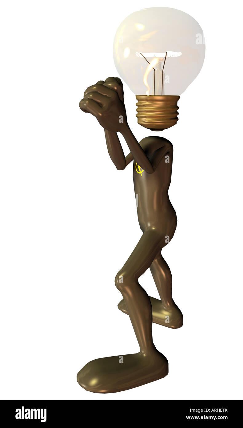 Birne Mann Maskottchen und Symbol für Strom Stockbild